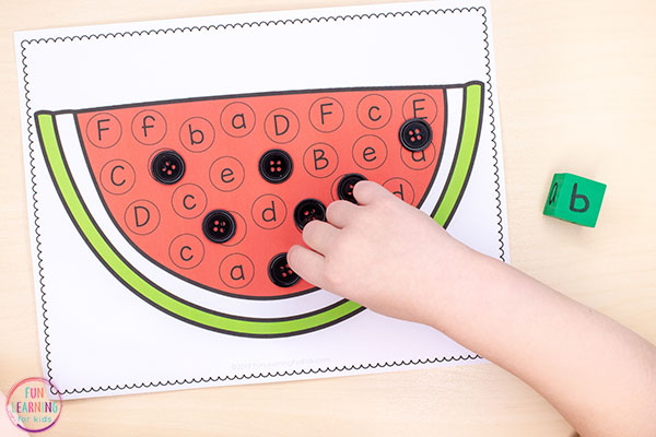 A fun watermelon alphabet activity that teaches letters of the alphabet and letter sounds.