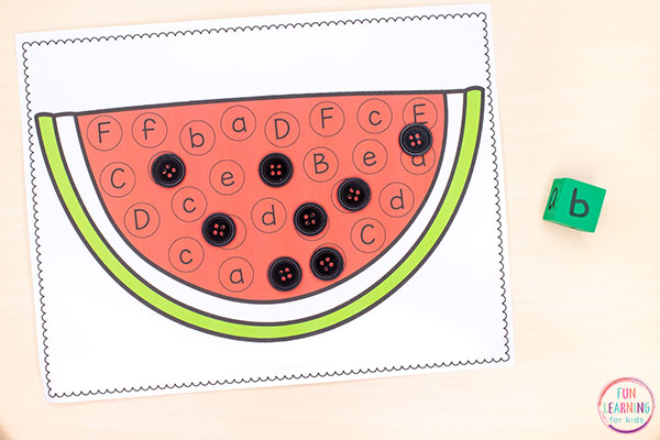 Teach letter identification and beginning letter sounds with a fun summer watermelon activity.