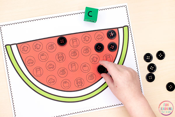 Use this watermelon activity in your summer theme literacy centers.