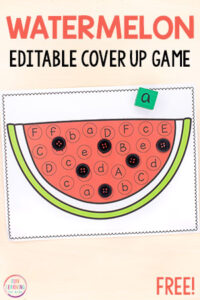 A fun watermelon activity that teaches letters and letter sounds.