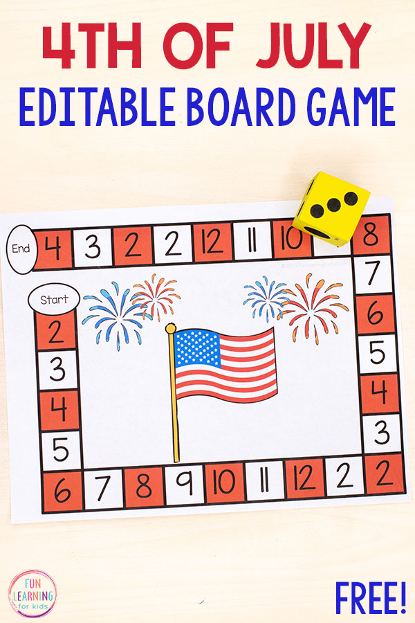 This editable 4th of July board game is so much fun! Use it to teach numbers, addition, subtraction, math facts and more!