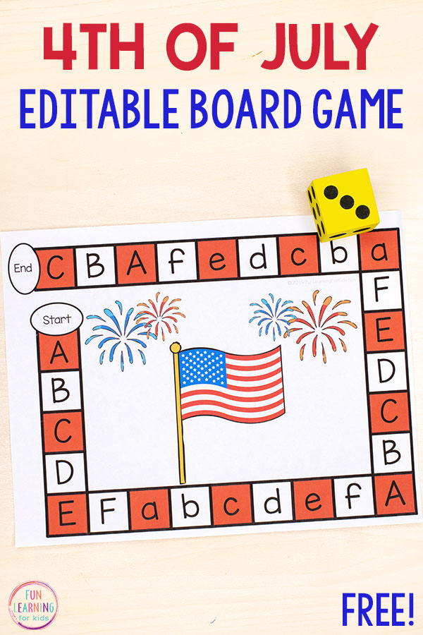 This editable 4th of July board game is so much fun! Use it to to teach the alphabet, letter identification, letter sounds and more.