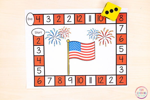 Use this editable board game to teach numbers, math facts and more this Independence Day!