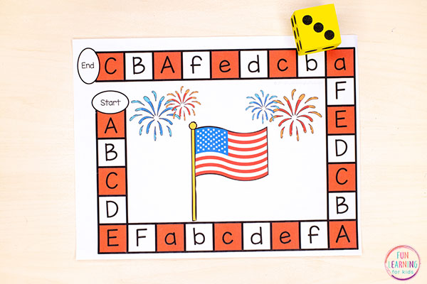 A fun editable board game for July 4th. This patriotic game makes learning the alphabet and letter sounds so much fun this summer.