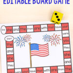 Editable 4th Of July Board Game