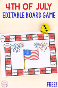 This editable 4th of July board game is so much fun! Use it to teach sight words, letter identification, letter sounds, math facts and more!