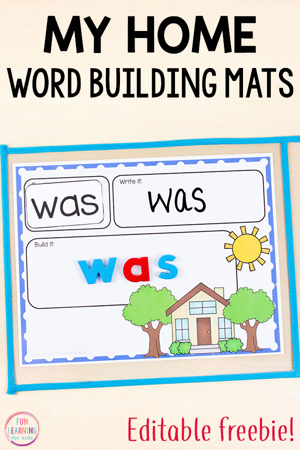 These free editable my home word building mats are perfect literacy centers during an all about me theme or my family theme. Use them for names, word work, sight words, spelling words and more!