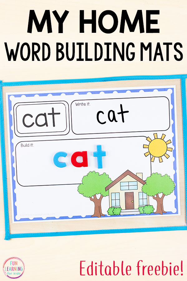 Kids will have a blast with word work and learning sight words while using these editable word building mats during your my family theme or all about me theme.