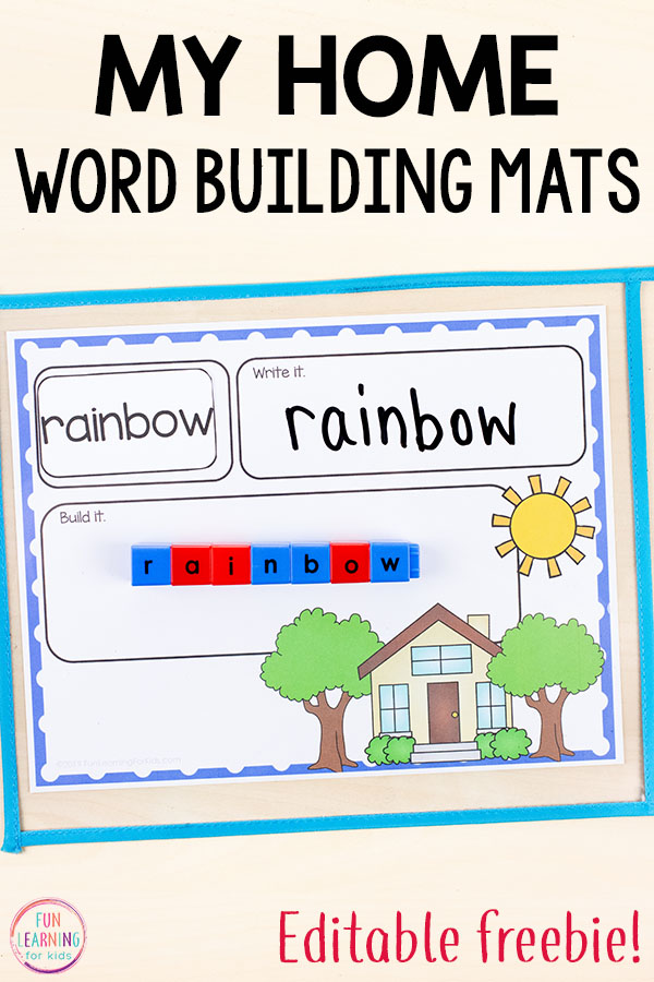 Kids can practice their spelling words with these fun editable word building mats. Perfect for word work, sight words and spelling words in kindergarten, first grade or second grade.
