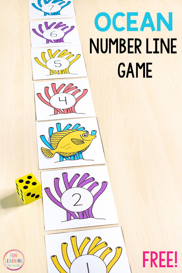 This ocean fish number line game is a fun way to learn numbers, counting, addition, subtraction and more. Get the kids moving with this fun ocean theme math activity!