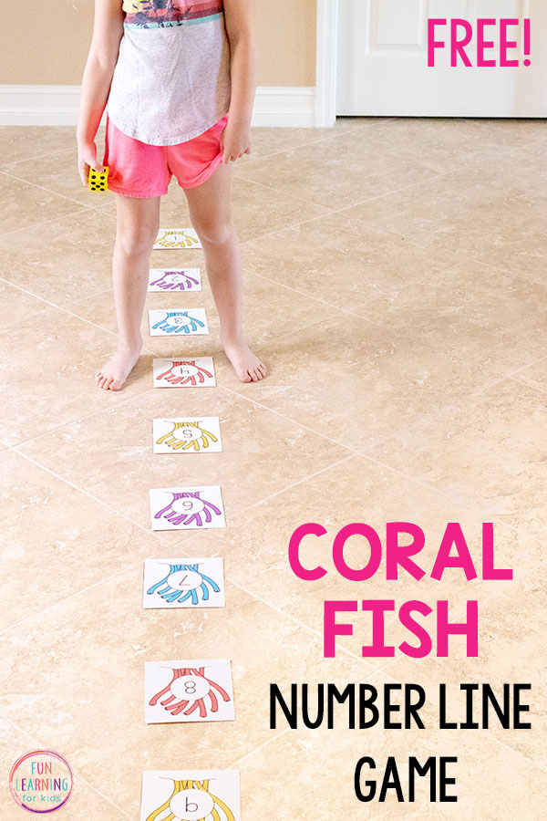 This ocean theme math game is a fun way for kids in preschool, kindergarten and first grade to learn numbers and addition and subtraction facts.