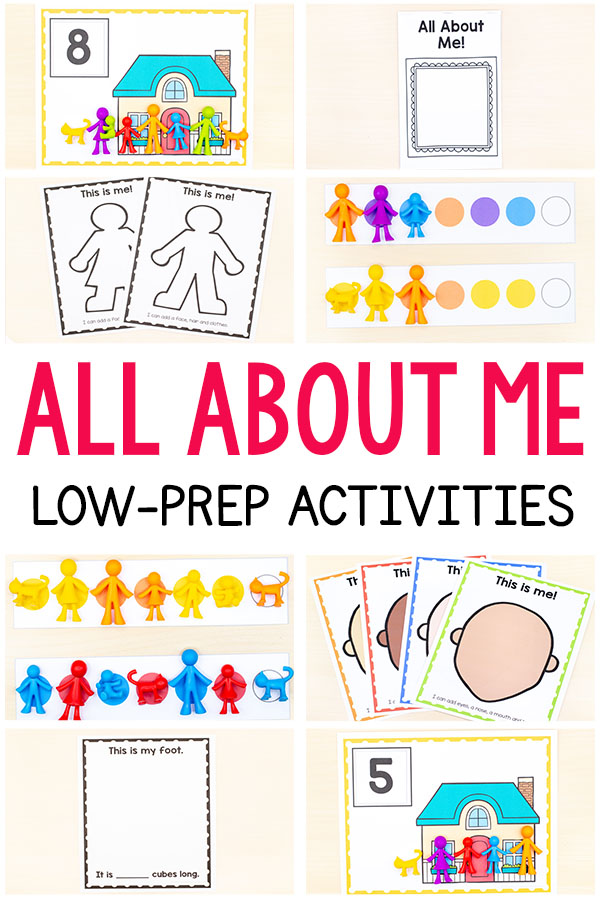 These all about me activities are perfect for your all about me theme in preschool, pre-k, or kindergarten. They are low-prep and lots of fun!