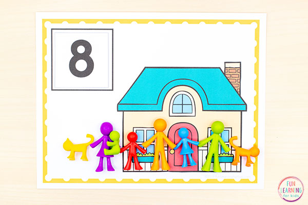 All about me counting activity for pre-k, preschool, and kindergarten math centers.