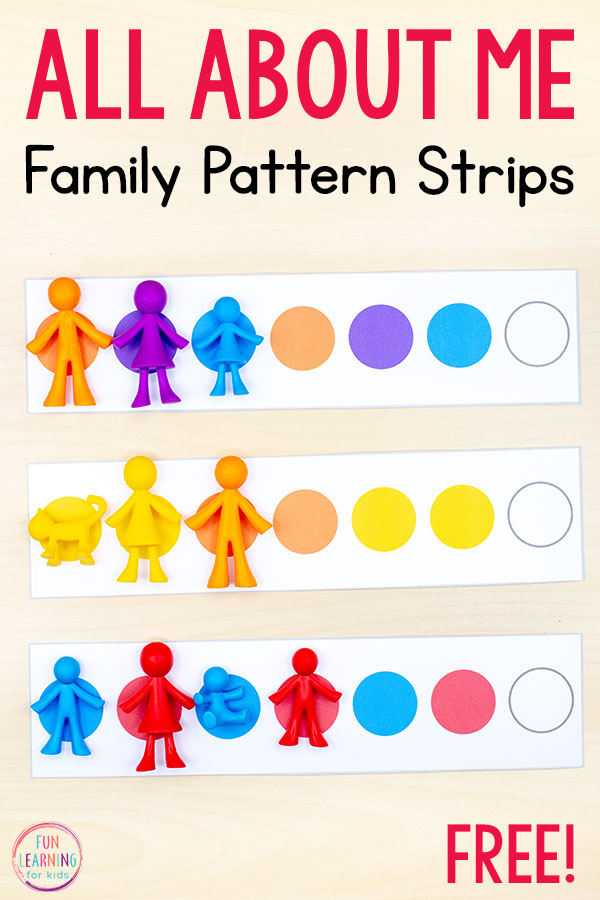 All about me patterning strips math activity for preschool, pre-k, and kindergarten math centers. A fun all about me theme math activity.