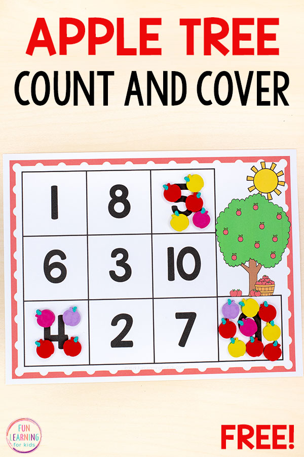 This apple count and cover math activity would be perfect for your preschool or kindergarten math centers. It's a fun counting activity for your apple theme!