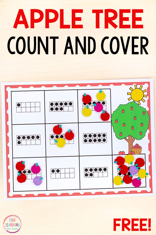 The kids will love this apple theme counting activity for your math centers this fall! Perfect for preschool or kindergarten.