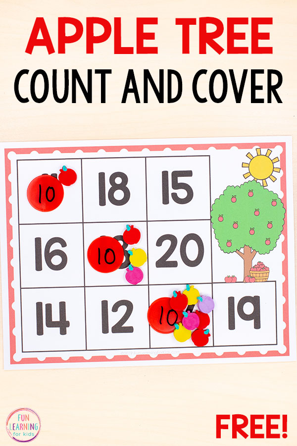 A fun apple math activity for kindergarten and preschool fall math centers. Teach counting in a hands-on way!