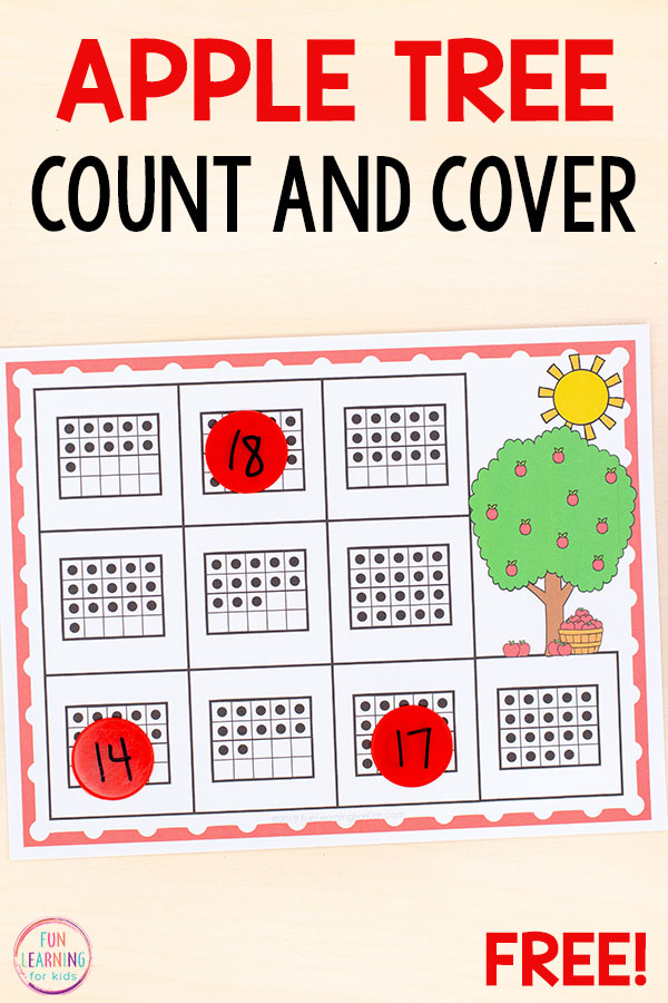 A no-prep counting activity for your apple theme math centers this fall.