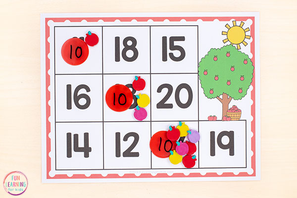 Teach kids to count from 1-20 with an apple theme math activity.