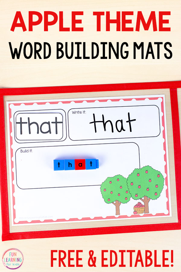 A fun apple theme word building activity for word work in kindergarten, first grade, or second grade. Add them to your fall literacy centers for hands-on learning.