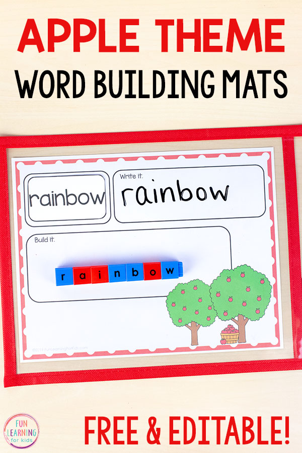 Practice spelling words, sight words, CVC words with a fun apple theme word work activity.