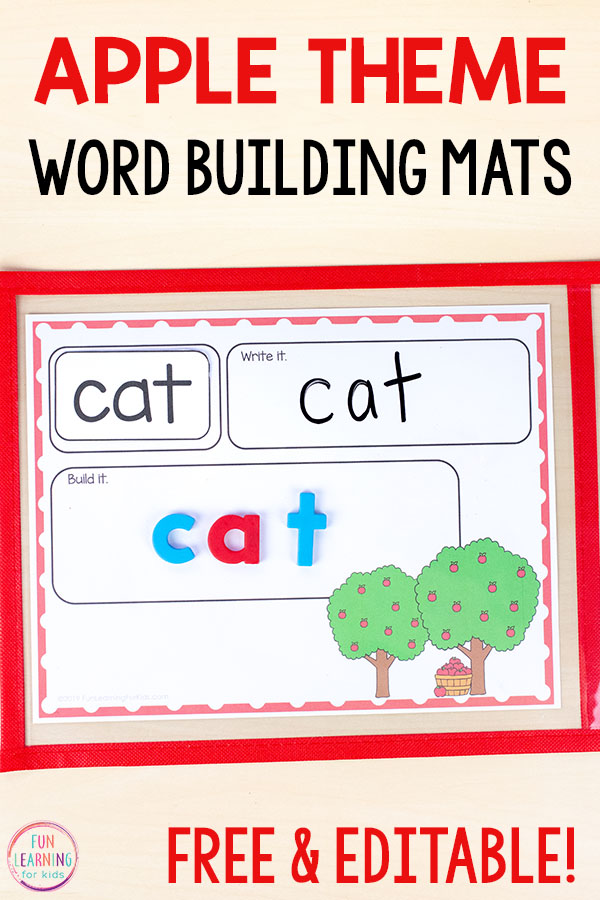 Teach CVC words, sight words, spelling words and more with this apple theme word work activity for fall literacy centers.