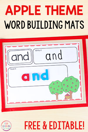 Apple word building mats for word work in your literacy centers this fall. Teach sight words, spelling words, and even names!
