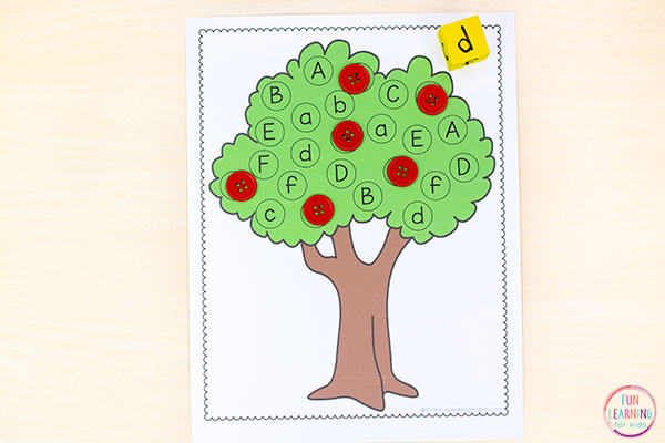 A fun apple alphabet activity for fall literacy centers in preschool and kindergarten. Editable and very easy to differentiate!