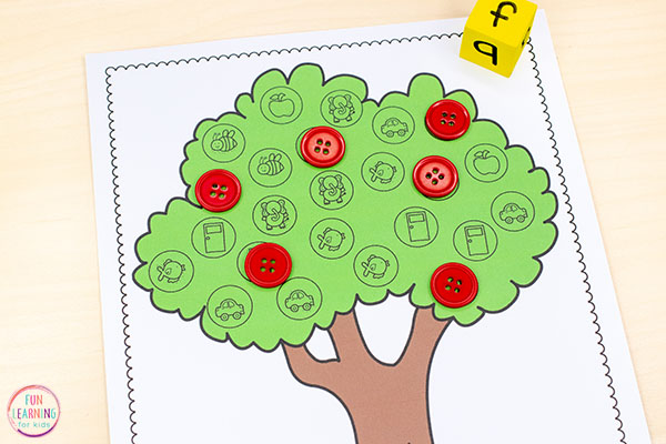 Teach beginning sounds or initial sounds with this fun apple theme alphabet activity.