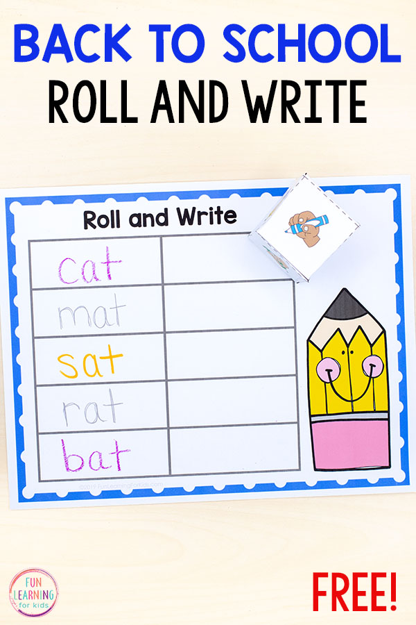Roll and Write Your Name Activity for Back to School