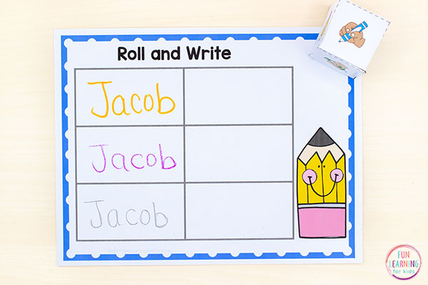A fun name writing practice activity for preschool. The kids will love this fun learning names activity!