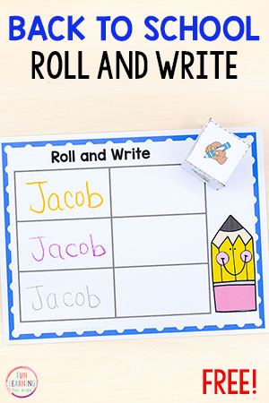 This low-prep roll and write your name activity makes learning to write your name a fun, hands-on experience. So skip the name worksheets and try this!