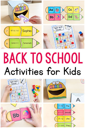 Back to school theme activities for preschool, pre-k, and kindergarten. Fun back to school printables for kids!
