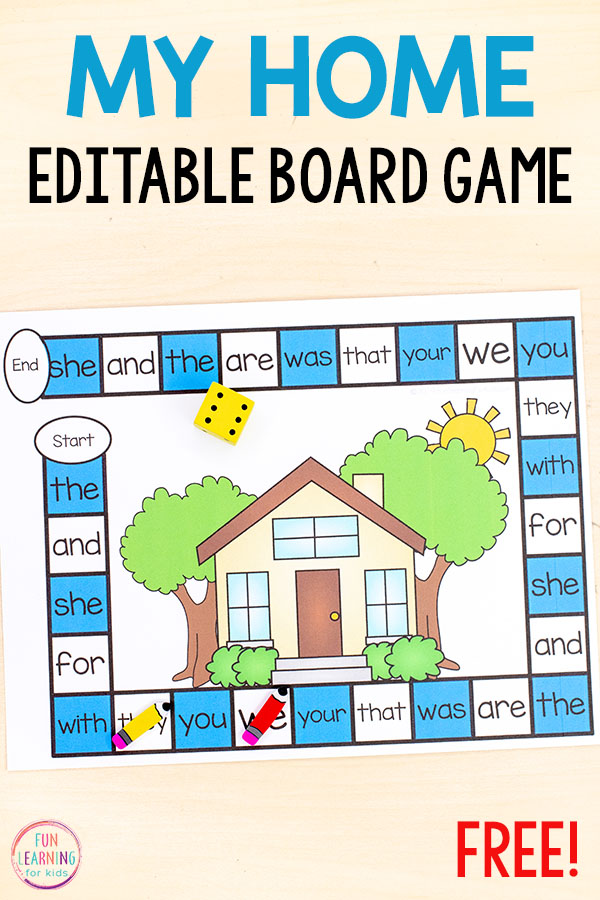 This editable my home board game is perfect for your all about me theme! Use it to teach sight words, letter identification, letter sounds, math facts and more!