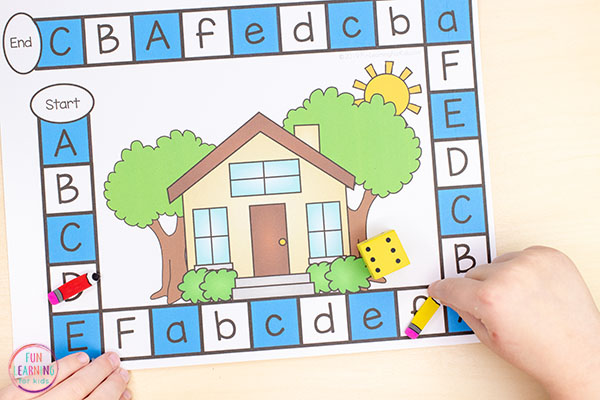 Teach letters and letter sounds with a fun all about me board game!