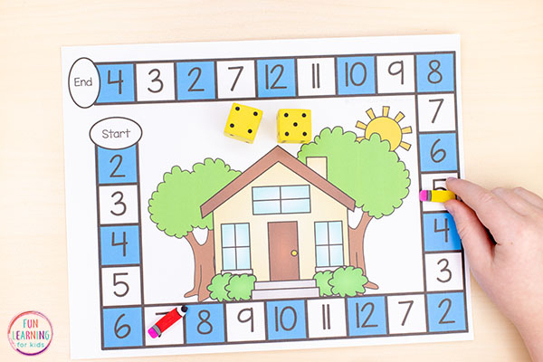 This all about me theme board game teaches numbers, math facts and more!