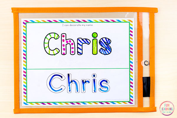 A fun preschool names activity for name writing practice.