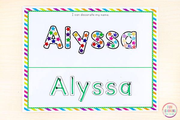 A preschool name activity that combines art and name writing practice!