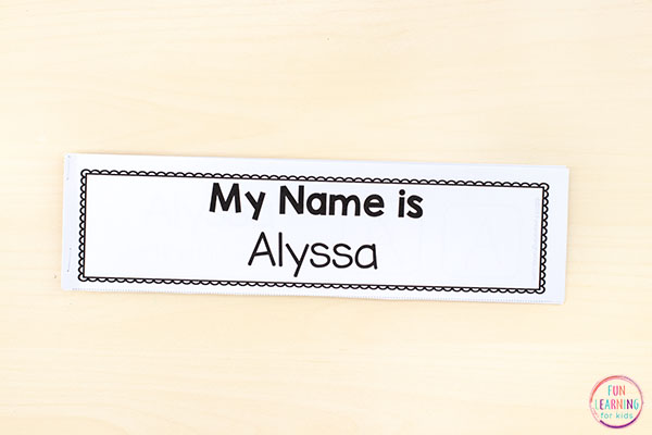 Fun name mini books for teaching name writing practice.