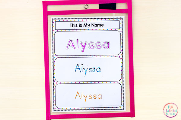 Name tracing worksheets that students can use over and over again.