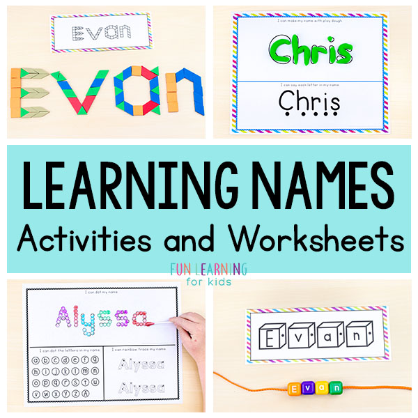 Lots of fun name writing practice activities and name tracing worksheets for preschool and kindergarten.