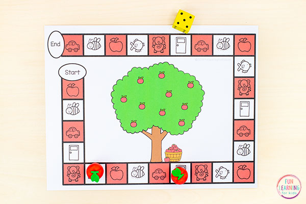 An apple theme letter sounds game for kindergarten and preschool.