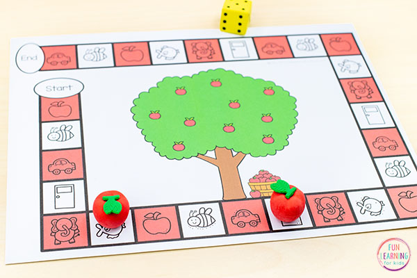 A fun apple theme alphabet activity for fall literacy centers in kindergarten or preschool.