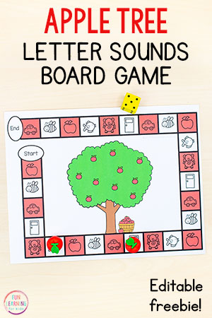 This apple tree letter sounds board game is a fun alphabet activity for your fall apple theme. Add it to your literacy centers or alphabet centers in preschool or kindergarten.