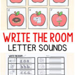 Apple Beginning Sounds Write the Room Alphabet Activity