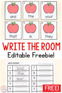 The kids will love this editable apple sight word write the room activity! It is perfect for fall literacy centers in kindergarten or first grade.