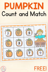 This pumpkin counting activity is perfect for fall math centers and would be a great addition to your pumpkin theme activities.