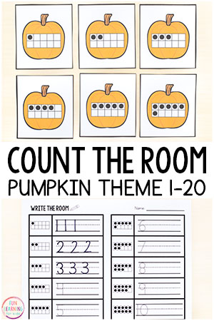 This pumpkin theme count the room activity is a fun way to learn numbers 1-20 and practice counting in preschool and kindergarten. This is perfect for fall math centers or pumpkin theme math centers!
