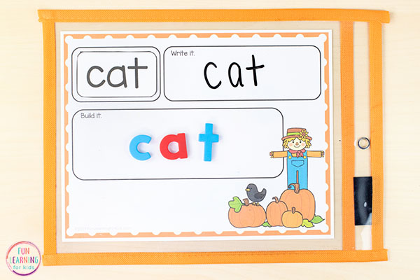 A fun pumpkin activity for word work practice this fall.