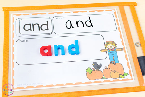 Pumpkin word building activity mats.